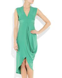 Zero + Maria Cornejo | Green Mia Draped Silk-crepe Dress | Lyst