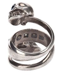 Alexander McQueen | Metallic Spiral Twin Skull Ring | Lyst