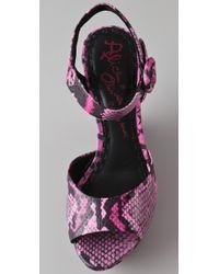 Alice + Olivia - Pink Jana Ankle Strap Wedge Sandals - Lyst
