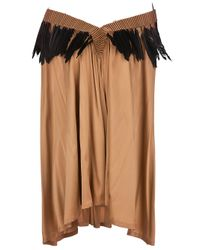 Ann Demeulemeester | Brown Feather Trim Dress | Lyst