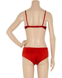 Carine Gilson   Red Silk-blend Satin and Lace Push-up Bra   Lyst