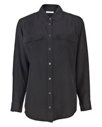 Equipment Black Relaxed Fit Silk Shirt
