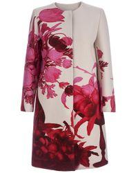 Giambattista Valli Red Floral Print Coat