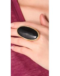 Kenneth Jay Lane Satin Gold and Black Oval Ring