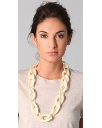 Kenneth Jay Lane - White Pearlized Bone Link Necklace - Lyst