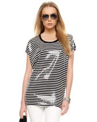 MICHAEL Michael Kors | Blue Striped Sequin Top | Lyst