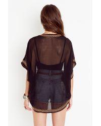 Nasty Gal | Black Beaded Kimono Jacket | Lyst