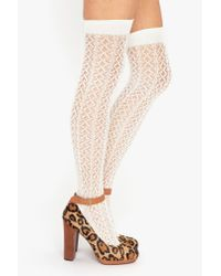 Nasty Gal | White Crochet Thigh Highs - Ivory | Lyst
