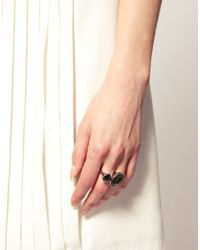 Ted Baker | Metallic Silver And Black Diamond Double Jewel Ring | Lyst