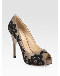 Valentino | Gray Peep Toe Pumps | Lyst