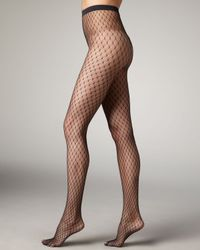 Wolford | Black Clara Dot Fishnet Tights | Lyst