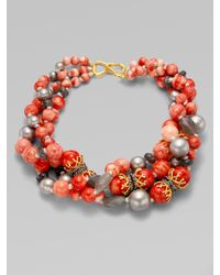Alexis Bittar Red Beaded Multi-strand Necklace