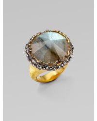 Alexis Bittar | Metallic Pavé Swarovski Crystal Accented Labradorite Ring | Lyst