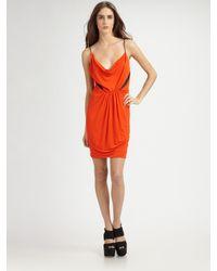 Cut25 by Yigal Azrouël | Orange Drape-front Matte Jersey Dress | Lyst