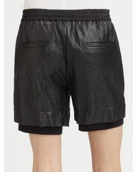 Cut25 by Yigal Azrouël - Black Washed Leather Shorts - Lyst