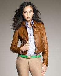 DSquared² | Brown Cropped Leather Jacket | Lyst