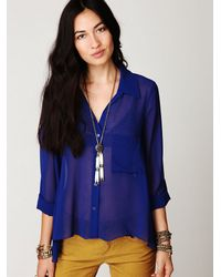 Free People | Blue Sheer Buttondown Tab Shirt | Lyst