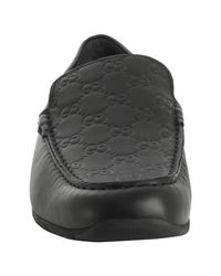 Gucci - Black Ssima Leather Slip On Loafers for Men - Lyst