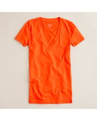 J.Crew | Orange Linen V-neck Pocket T-shirt | Lyst