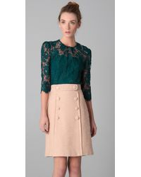 MILLY | Green Caterina Puff Sleeve Lace Top | Lyst