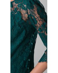 MILLY - Green Caterina Puff Sleeve Lace Top - Lyst