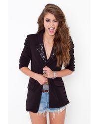 Nasty Gal Sequin Tux Blazer - Black