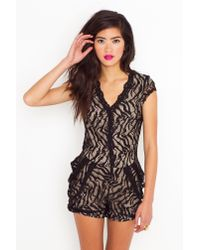 Nasty Gal - Black Collar Me Maybe Lace Romper - Lyst