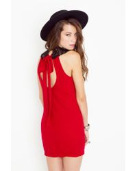Nasty Gal | Red Tied Crochet Dress - Crimson | Lyst