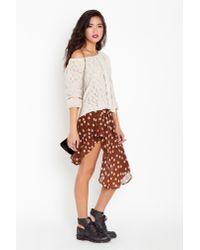 Nasty Gal   Brown Asymmetric Chiffon Skirt - Polka Dot   Lyst
