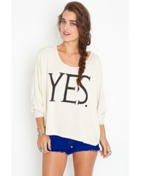 Nasty Gal | Natural Just Say Yes Sweatshirt | Lyst