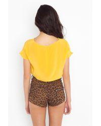 Nasty Gal | Yellow Sunny Silk Crop Top | Lyst