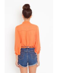 Nasty Gal - Chiffon Crop Blouse - Orange - Lyst