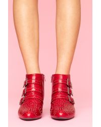 Nasty Gal | Starburst Stud Boot - Red | Lyst