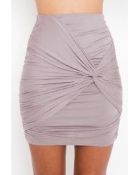 Nasty Gal | Metallic Ruched Knot Skirt - Silver | Lyst