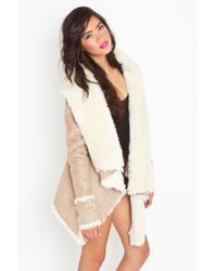 Nasty Gal | Natural Chelsea Shearling Coat | Lyst