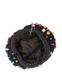 Santi   Black Tweed Multi-stone Clutch Bag   Lyst