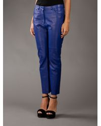 Acne Studios Blue Leather Trousers