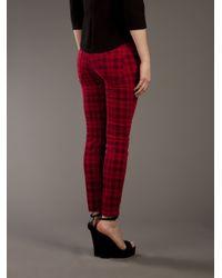 Current/Elliott Red Tartan Skinny Jean