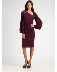 David Meister | Purple Bell Sleeve Jersey Dress | Lyst