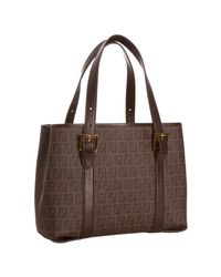 Fendi | Brown Zucchino Spalmati Leather Trimmed Tote | Lyst