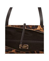 Ferragamo | Brown Leopard Print Nylon Tote Bag | Lyst