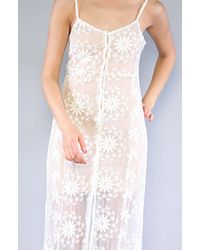 Free People | Natural Embroidered Netting Maxi Slip | Lyst
