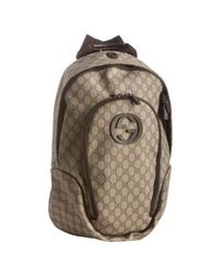 Gucci | Natural Beige Gg Plus Interlocking G Detail Backpack for Men | Lyst