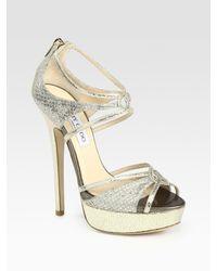Jimmy Choo - Metallic Sierra Glitter-coated Snake-print Leather Platform Sandals - Lyst