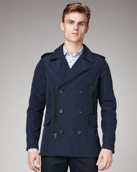 Lanvin | Blue Zip-Detail Pea Coat for Men | Lyst