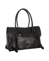 Proenza Schouler | Black Pebbled Leather Ps1 Small Top Handle Bag | Lyst