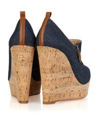 Christian Louboutin - Blue Deroba 140 Denim Peep-toe Wedges - Lyst