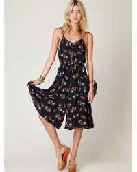 Free People | Black Floral Printed Tea Length Printed Romper | Lyst
