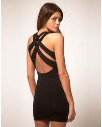 ASOS Collection - Black Asos Mini Dress with Cross Back Strap - Lyst