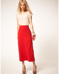 ASOS Collection | Red Asos Midaxi Skirt | Lyst